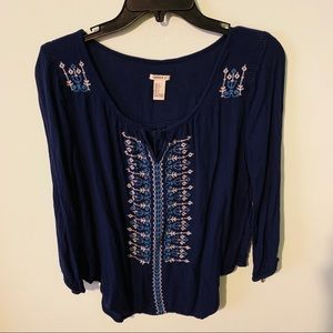Forever 21 Tops - Embroidered Peasant Top
